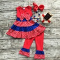 2016 summer capri set  July 4th Patriotic girl clothes girls boutique outfits children purple summer outfits with accessories