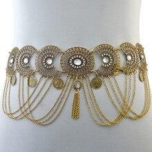 1d51095fbe14 Mode Rétro Style Ajouré Cristal Chaîne En Or Ceinture Géométrique Gland  Coin Longue Taille Chaîne Femmes
