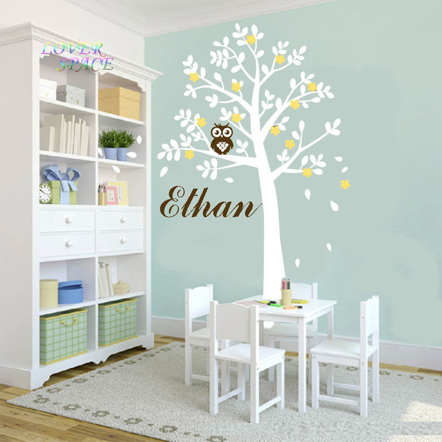 Huge White Tree Owl Wall Stickers Xlarge Size Decor Vinyl Decal Removable  Nursery Kids Baby Room Part 97