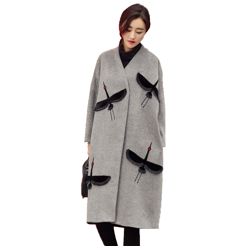 Autumn Winter Woman Coats 2019 Fashion Trench coat Embroidered V neck Gray wool coat Women Long
