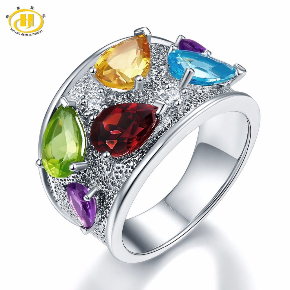 Hutang Engagement Ring Multi Natural Gemstone Peridot Rhodolite Garnet Solid 925 Sterling Silver Fine Fashion Jewelry Best Gift