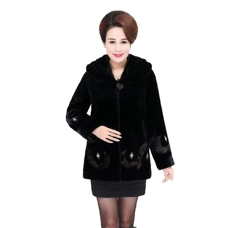 Hiver Haute Black Qualité Manteau De Au Édition Femmes D'âge Fourrure Yagenz Vison Imité Han Moyen Chaud Tops Garder Mode Nouvelles Vêtements Kg615 w17t8Otq