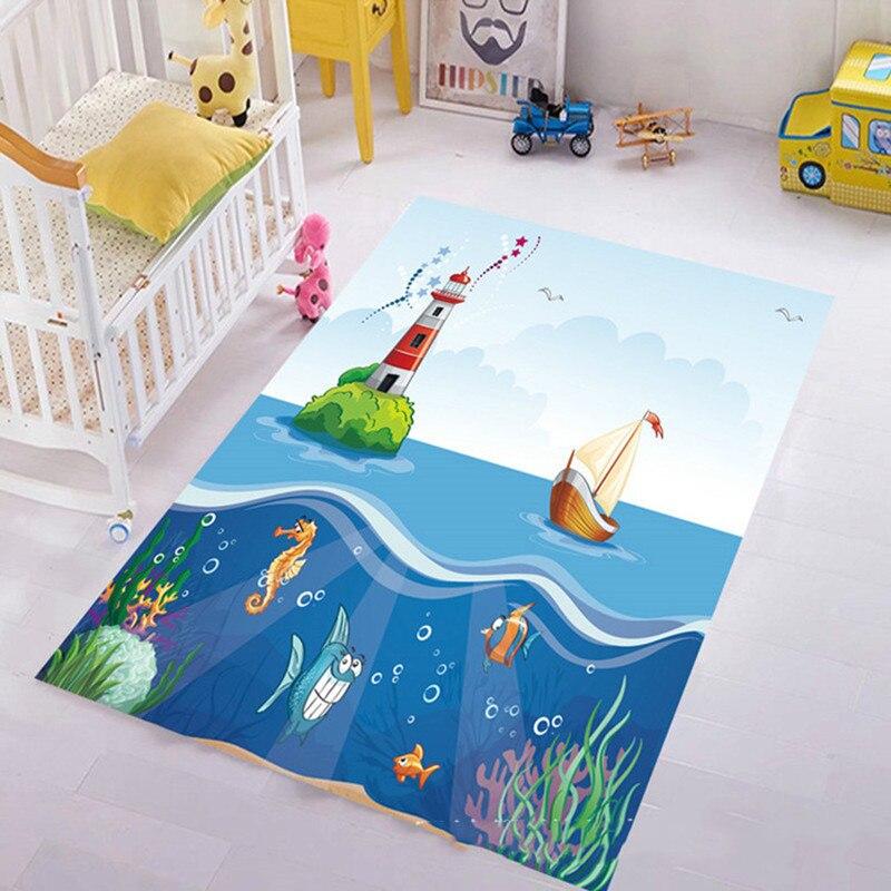 3D Print Shark Sea Rug Underwater World Children's Carpet Bedroom Cartoon Carpet Baby Play Mat Livingroom Tapete Soft Sofa Pad