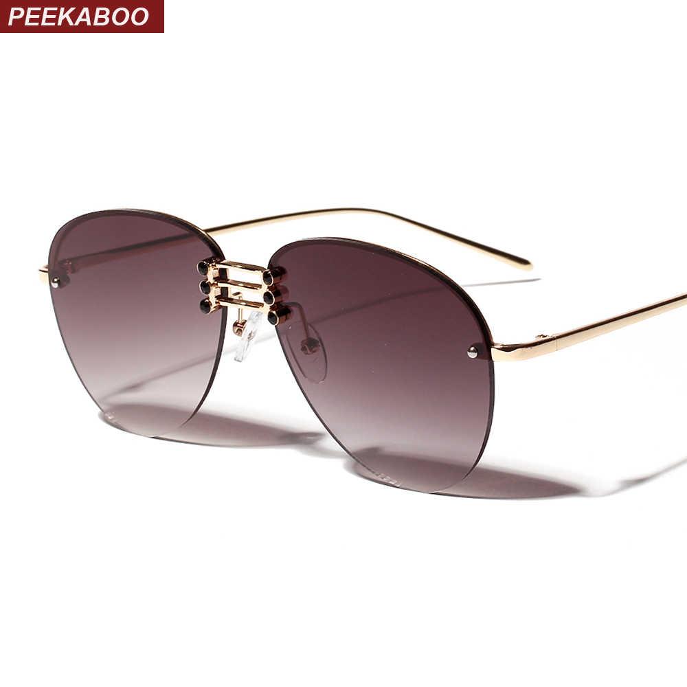 7c7dc9c6bd Peekaboo designer rimless sunglasses men metal frame 2019 orange womens  oversized sun glasses female fashion uv400