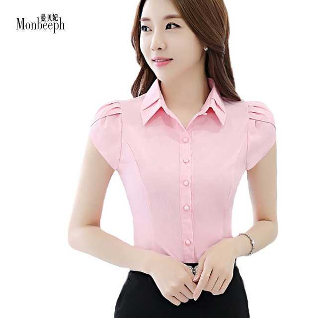 Us 23 55 Monbeeph 2018 Summer Ol White Shirt Women Office Ladies Short Sleeve Tops Blouses Women Work Shirt Size S 2xl In Blouses Shirts From
