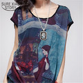 Plus Size M-4XL New 2015  Summer T-shirt Female Retro Print Chiffon Loose Short-sleeved Shirt Was Thin Women Casual Top 668J 20