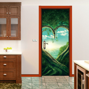 Image 5 - Serce zielony drzewa roślin 3D drzwi naklejki DIY Mural imitacja wodoodporna tapeta z PCV naklejki ścienne sypialnia wystrój domu