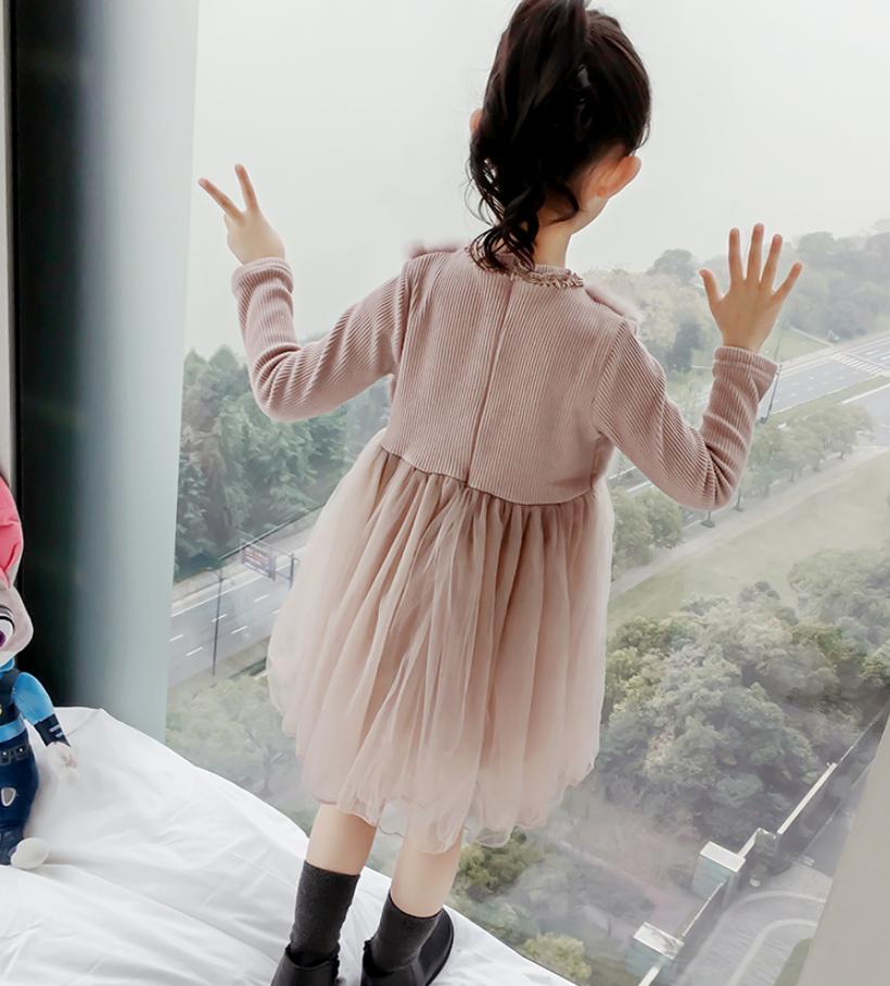 Bébé filles Plus velours robe vêtements pour enfants lapin couture robe à manches longues mignon enfants vêtements 2019 nouvelle robe chaude Y139 - 3