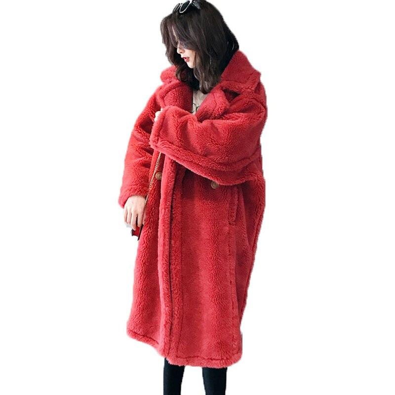 Cappotto di Pelliccia reale 100% Giacca di Lana di Pecora Shearling Pelliccia di Inverno Rivestimento Delle Donne Vestiti di 2018 Casual Coreano Elegante Allentato Lungo Cappotto ZT576