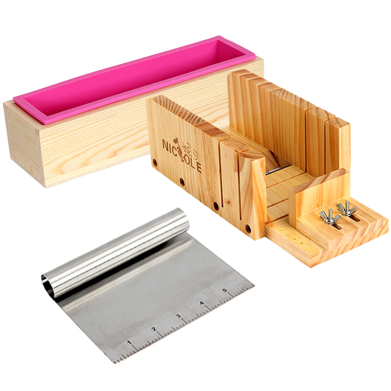 Homemade Soap Making Tool Set 3 Rectangular Silicone Mold with Adjustable Wooden Loaf Cutter Box and