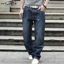Loose Casual Men Jeans Large Size Baggy Jeans 28-44 Size Washed Straight Robin Denim Black Ripped Biker Jeans Men Mp58 Z40