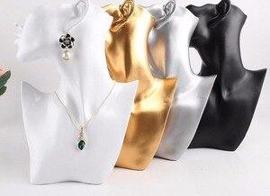 Image 3 - Новинка 1 шт., реалистичный манекен, полуголовное ожерелье серьга подвеска, ювелирное изделие из полимера, обхват груди для сережек, подставка для дисплея, черный ручной работы