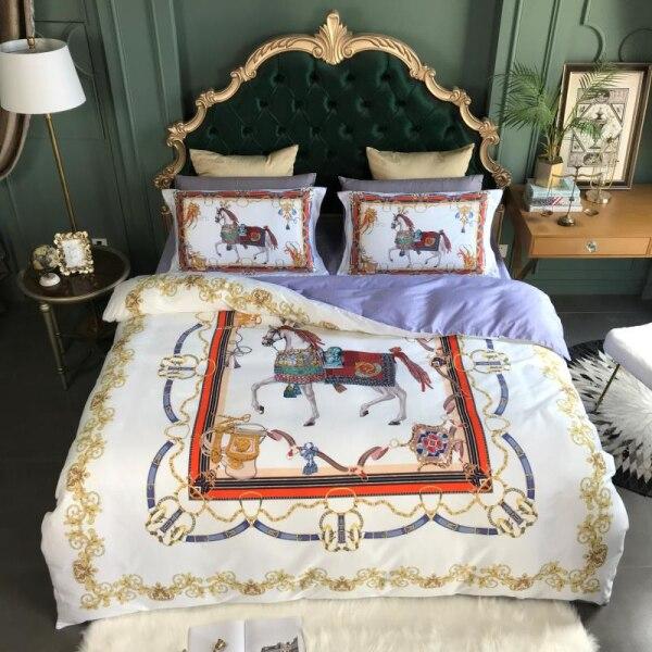 Haut de gamme luxe royal europe français italie design coûteux exclusif cheval impression marque roi reine taille blanc bleu ensembles de literie 4 pièces
