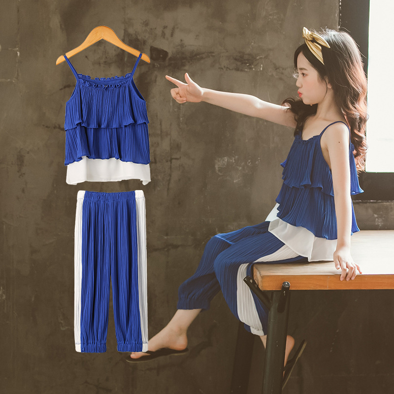 Girls Fashion 2018 Summer Clothing Sets For Teenage Girl Kids Two Pieces Set Camisole Shirt Blouse & Pants Children Clothes Suit chamsgend summer kids cute baby girls vest pleated dress two pieces set clothes children skirt suit jan7 s25