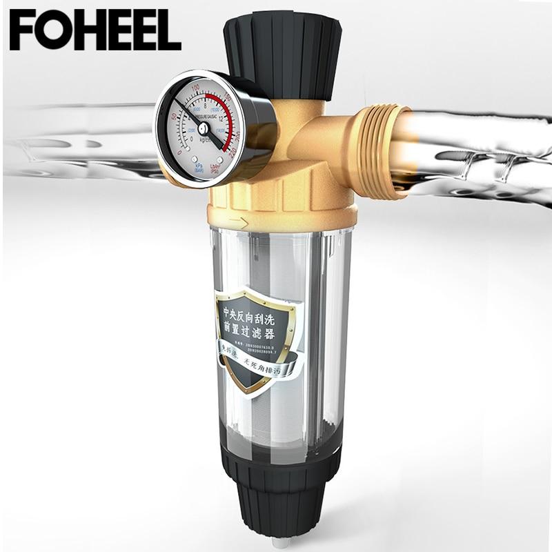Système de filtre à eau pré-filtre Central FOHEEL matériau antioxydant en laiton maille en acier inoxydable de 40 microns prefiltro livraison gratuite