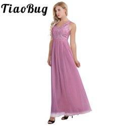 Nova Moda Feminina Ladies Maxi Longo Vestido Bordado Floral Acolchoado Chiffon Sem Mangas Cintura Plissada Vestido de Festa Longo Da Dama de honra
