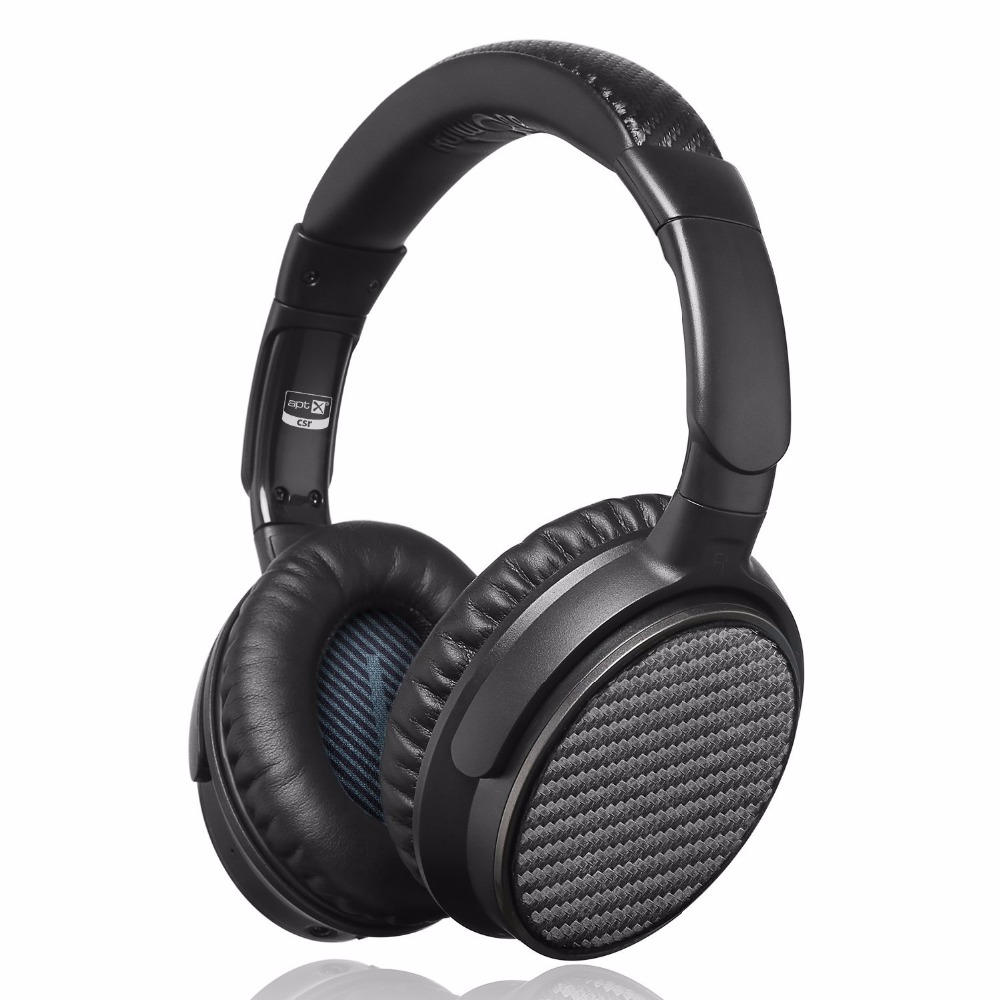 iDeaUSA V201 Active Noise Cancelling ANC Over Ear Bluetooth Wireless Headphones with aptX HiFi Sound up to 25 Hours Playback