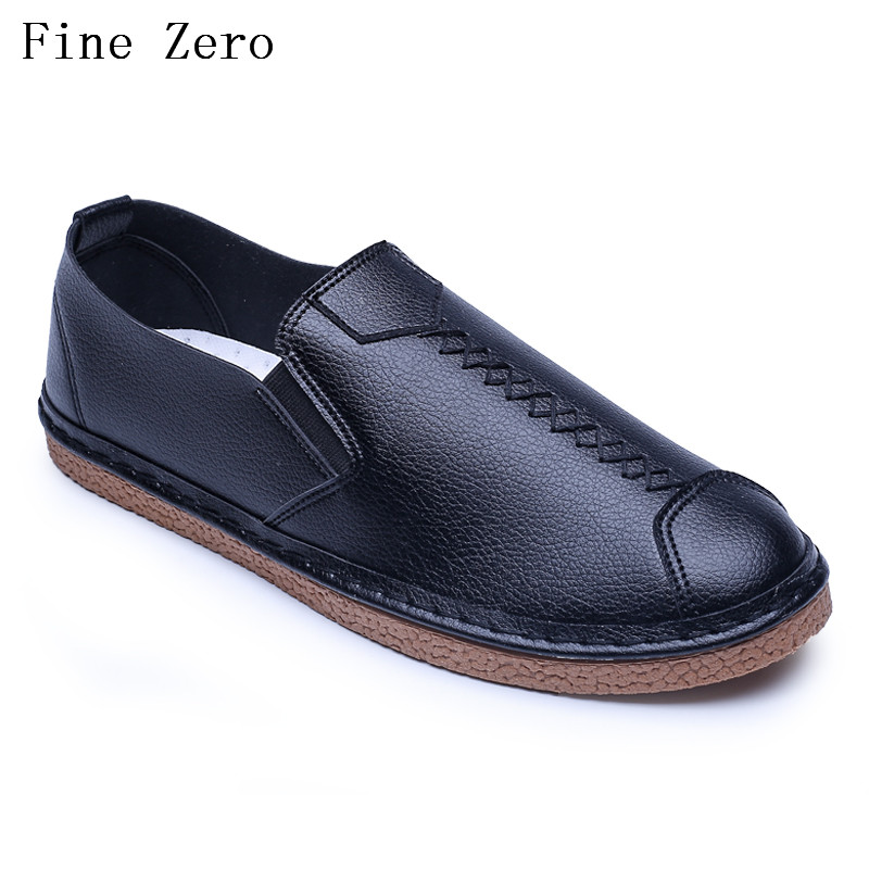 Fine Zero 2017 Male  slip on casual men loafers spring and autumn mens moccasins shoes pu leather men's flats shoes 2017 autumn fashion men pu shoes slip on black shoes casual loafers mens moccasins soft shoes male walking flats pu footwear