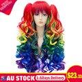 Mulheres De Longo Rainbow Color Gradiente Franja Encaracolados Rabo de Cavalo Duplo Lado Perucas Cosplay