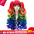 Women Long Rainbow Color Gradient Curly Bangs Double Ponytail Side Cosplay Wigs