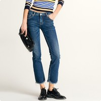 2017 Autumn New Fashion European Top Slim Fit Womens Jeans Female Flare Pants Broeken Woman Calca