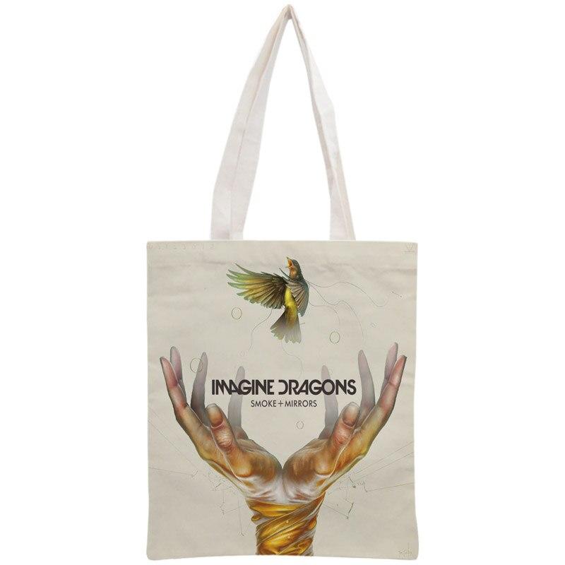 Custom Imagine Dragons Tote Bag Reusable Handbag Women Shoulder Foldable Canvas Shopping Bags Customize your image tote bag