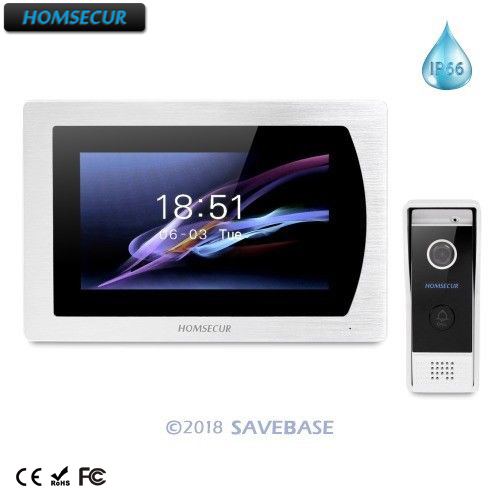 "HOMSECUR 7"" Wired Video&Audio Home Intercom With Call Transfer & Motion Detection For House/Flat  BC031-B + BM717-S"