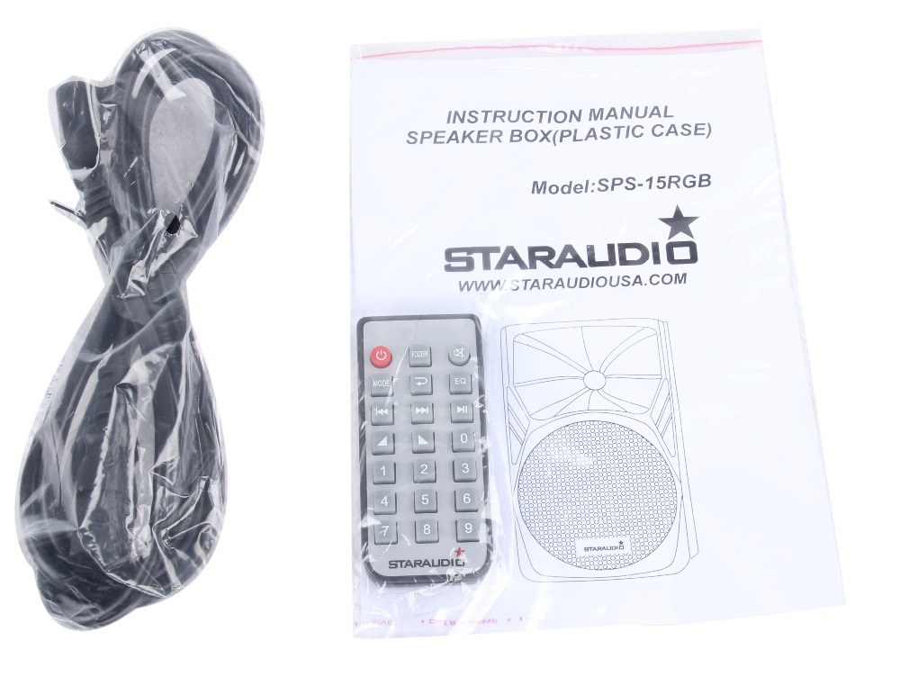 STARAUDIO SPS-15RGB Pair 15″ 3500W PA DJ Stage Karaoke Powered Active MP3 SD FM BT Speakers W/ LED Lighting Stands Mic