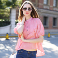 Veri Gude Summer Style New Women's Batwing Sleeve Blouses Plaid Shirts Free Shipping