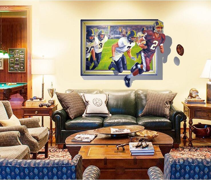 Maaryee 70 100cm 3d American Football Wall Stickers For Bedroom Bar Postal Decoration Wallpapers Decal Home Decor Mural