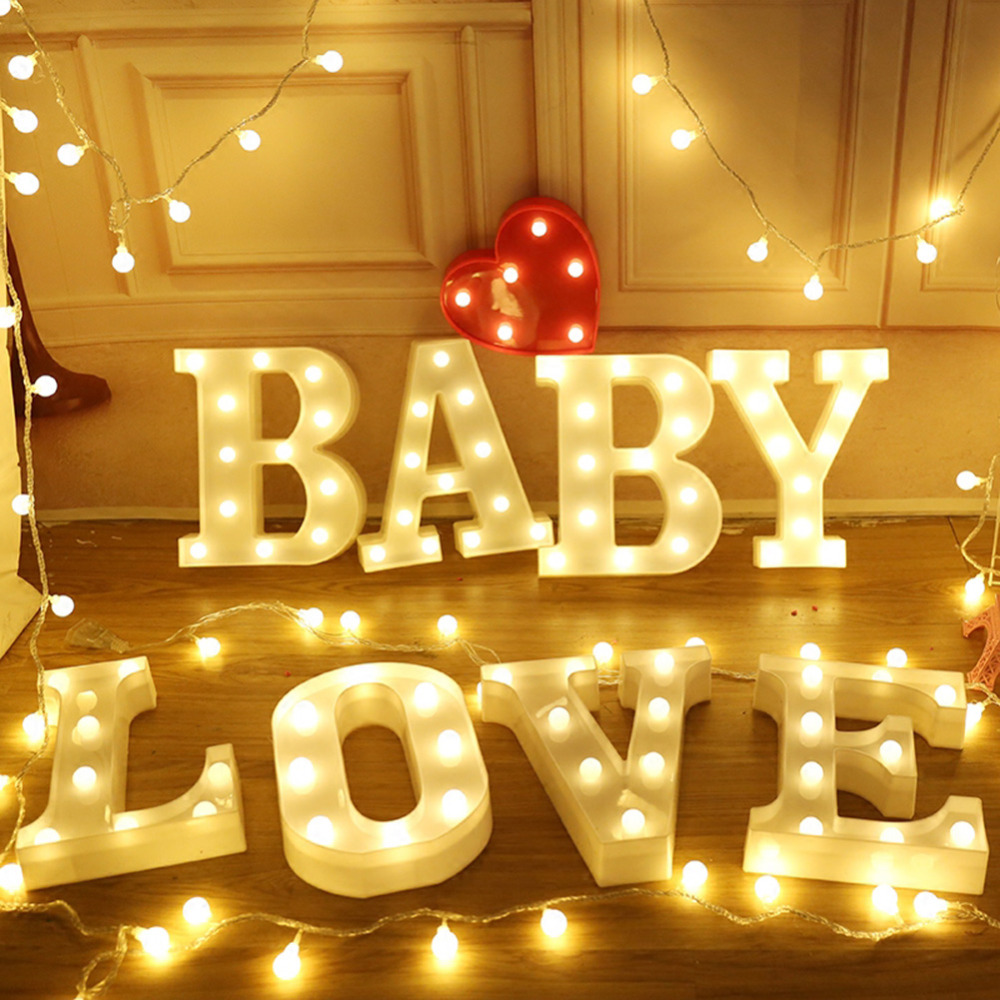 3D English Letter Shape LED Night Light Baby Kids Bedroom Decoration Kids Gift Wedding Party Decor Night Lamp Alphabet Light led horse shape wood night light nordic chic night lamp for baby bedroom christmas decor photo props kids gift battery powered