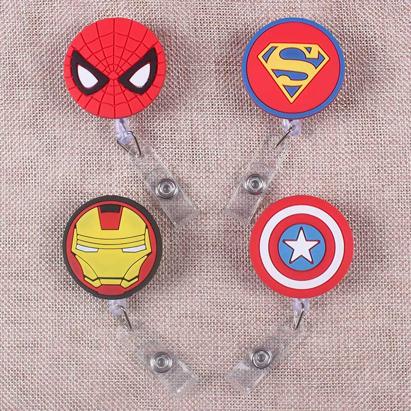 Big Heros Retractable The Badge Holder Reel Cartoon Spiders Exhibition Enfermera Captain Name PU Card Hospital Office Chest Card