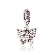 Ranqin 2017 New Fashion European Butterfly Bead Pendant Silver Color Charms Fit Pandora Bracelet Charm Accessories Lovely Cute