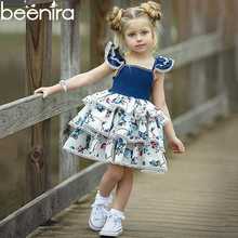 Beenira Girl Dresses Fashion Girls Print Dress Ins Explosion Baby Vest Dress Small Flying Sleeves Lace Princess Cute Cake Dress