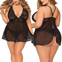 Горячее сексуальное женское белье размера плюс с открытой спиной кружевное белье Babydoll Ночное белье большого размера сексуальная ночная рубашка Camison Пижама P4