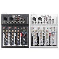 Preto Branco de 4 Canais Profissional Estúdio de Mixagem Ao Vivo Console de Áudio de Som 48 V Mixer Console USB placa de Som Placa de Rede Âncora