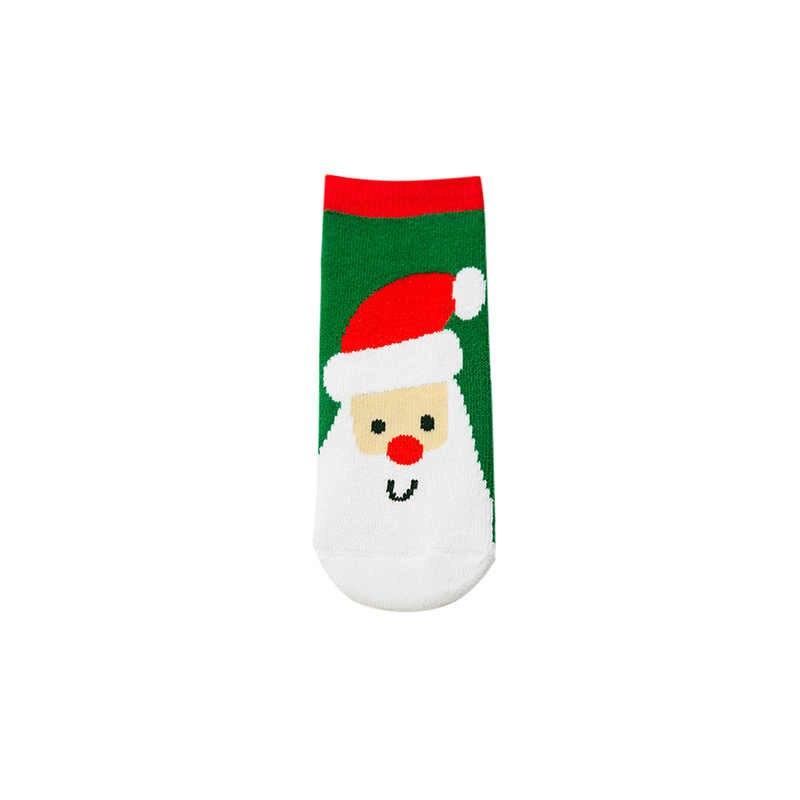 Noel çocuklar sıcak terlik çorap 2 adet/çift kar tanesi noel baba küçük hayvan baskılı pamuk bebek noel hediye sevimli jakarlı çorap