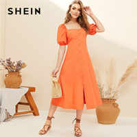 SHEIN Orange Single Breasted Front Puff Sleeve Midi Dress Women Boho Cute Square Neck Solid Summer Dress Cotton Aline Long Dress
