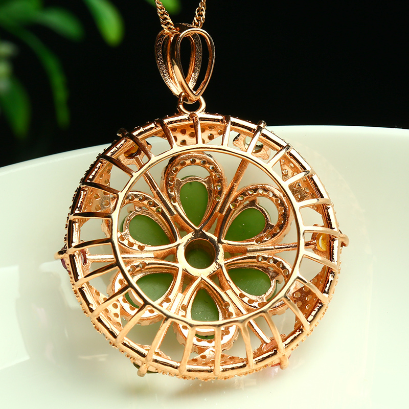 High end custom jewelry mosaic of natural jade pendant necklace high end custom jewelry mosaic of natural jade pendant necklace pendants female luxury atmosphere in pendants from jewelry accessories on aliexpress aloadofball Images