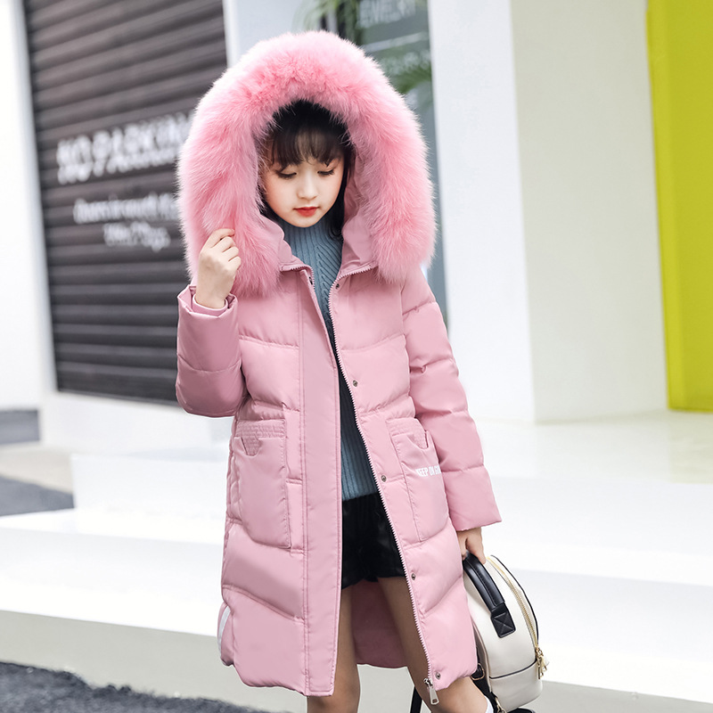 New 2018 Fashion Children Winter Jacket For Girl Coat Kids Warm Thick Fur Collar Hooded Long Down Jackets For Teenage -20 Degree fashion children winter coat long down jacket for girl long parkas kids hooded color raccoon fur collar coat zipper outerwear