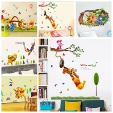 Winnie the Pooh friends wall stickers for kids rooms decorative sticker adesivo de parede removable pvc decal free shipping