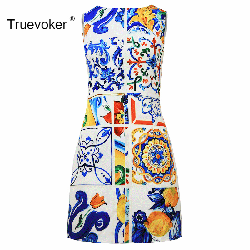 Truevoker Summer Designer Dress Womens High Quality Noble Sleeveless Multicolor Porcelain Printed Pencil Mini Boutique Dress