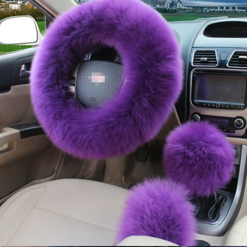 3 Pcs Set Purple Car Steering Wheel Cover Elastic Fluffy Woolen
