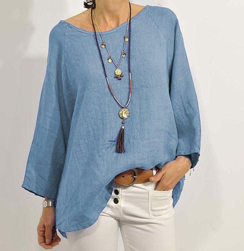 Été femmes lâche Blouse chemise hauts coton lin solide o-cou quotidien salopette décontracté femme tunique grande taille XXL 3XL 4XL 5XL
