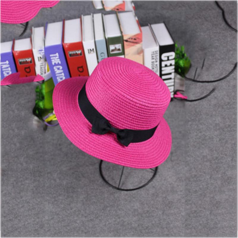 e572172f5 Sun Caps Ribbon Round Flat Top Straw Beach Hat Panama Hat for Women Straw  Hat Travel Outdoor Fold Spring Summer Beach Hat