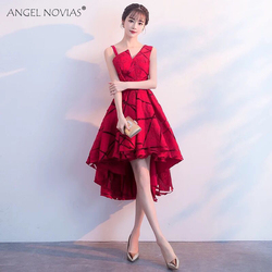 Angel Novias бордовое элегантное кружевное платье для выпускного вечера 2019 вечернее платье в наличии