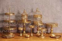 12pcs Lot Gold Wedding Dessert Tray Cake Stand Cupcake Pan Party Supply New Cake Table Cake