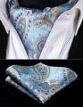 RP928BS Ouro Azul Paisley Lenços De Seda Homens Gravata Ascot Gravata Conjunto Lenço de Bolso Quadrado Do Casamento Do Partido Clássico