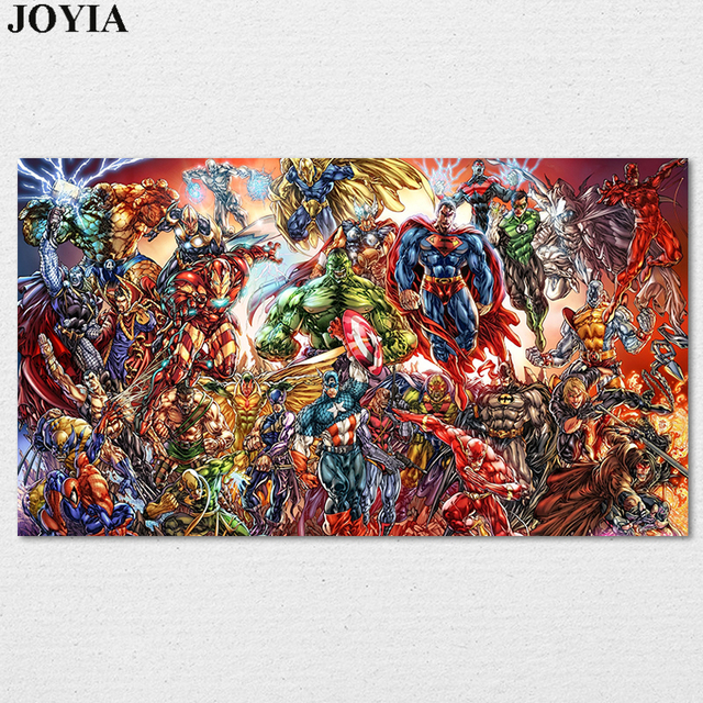 Marvel Heroes Poster DC Comics Muscle Superheroes Prints Universe  Characters Wall Art Picture Home Kids Bedroom