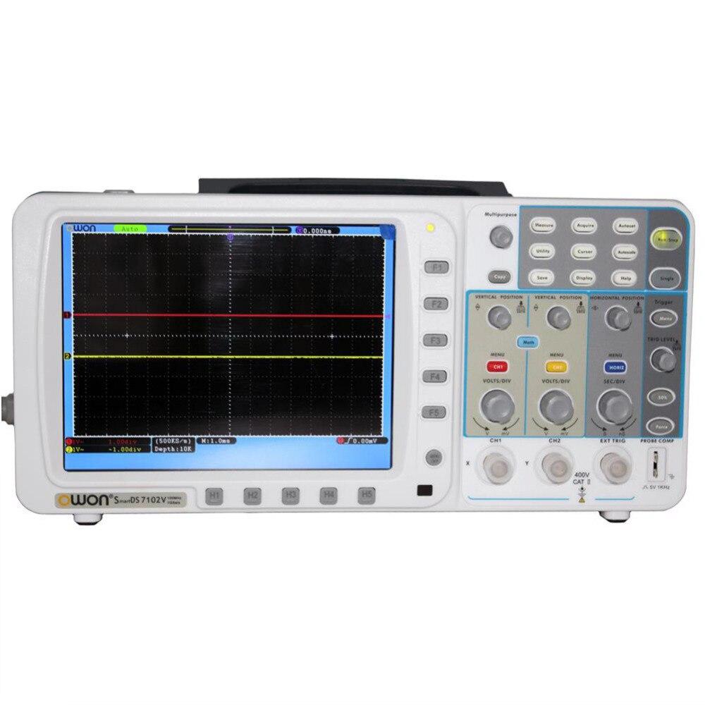 OWON 100Mhz Oscilloscope SDS7102 1G/s large 8 LCD 3 yrs wa LAN FFT free FW upgr осциллограф owon hds1021m